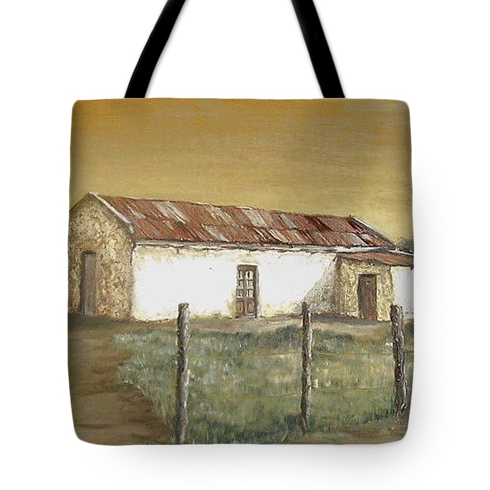 Old House Landscape Country Tote Bag featuring the painting Old House by Natalia Tejera