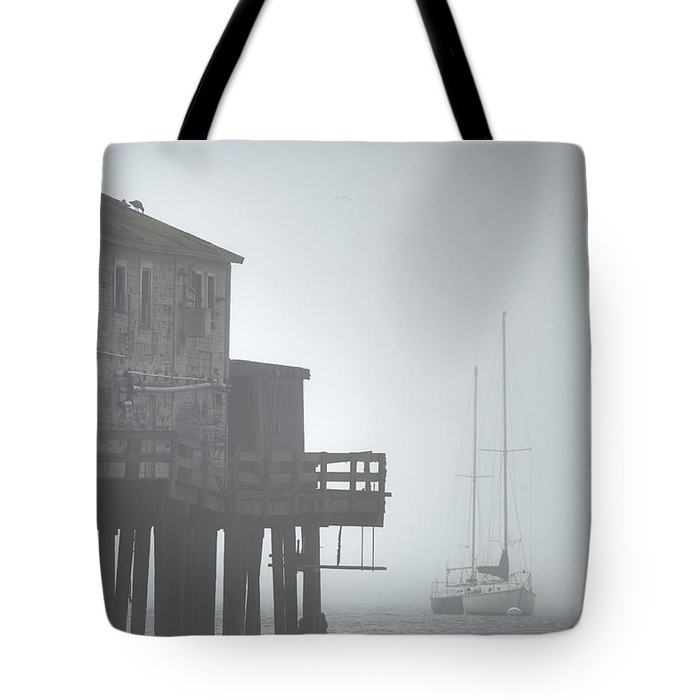 Boat Tote Bag featuring the photograph Old House On The Pier by Jens Peermann