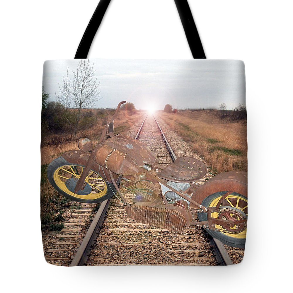 Motor Bike Train Motorcycle Ancient Antique Railroad Crossing Tracks Bike Harley Tote Bag featuring the photograph Old Iron Horse by Andrea Lawrence