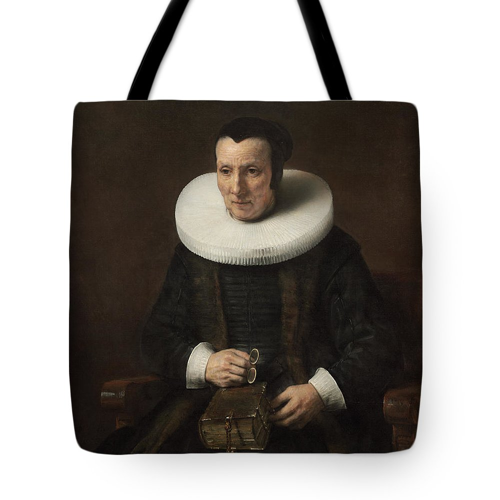 Rembrandt Tote Bag featuring the painting Old Lady With A Book by Rembrandt