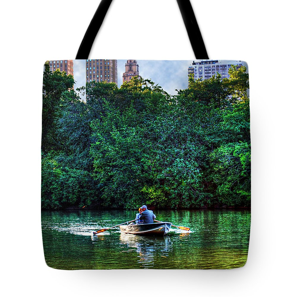 Central Park Tote Bag featuring the photograph Old Love And Central Park Lake by Randy Aveille