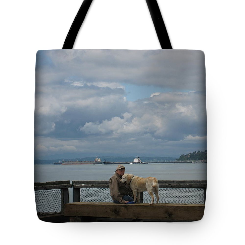 Old Man Tote Bag featuring the photograph Old Man And His Dog by Lori Tambakis