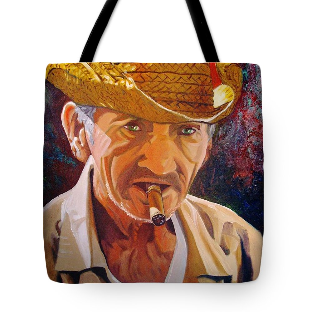 Cuban Art Tote Bag featuring the painting Old Man by Jose Manuel Abraham