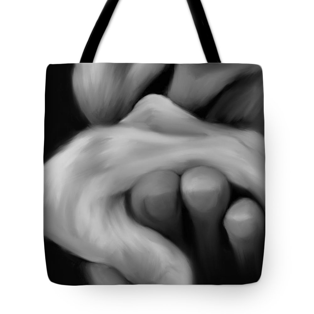 Tote Bag featuring the painting Old Man Kisses Hand by Jack Bunds