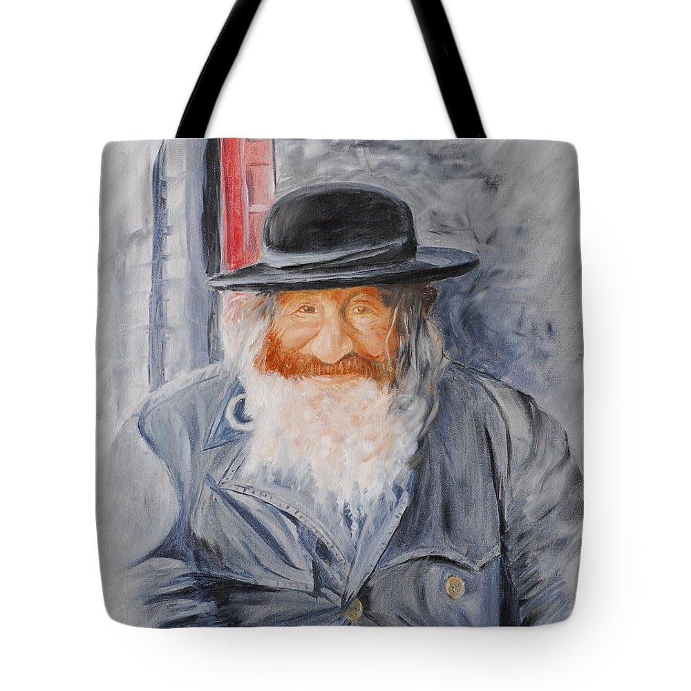 Jerusalem Tote Bag featuring the painting Old Man Of Jerusalem by Quwatha Valentine