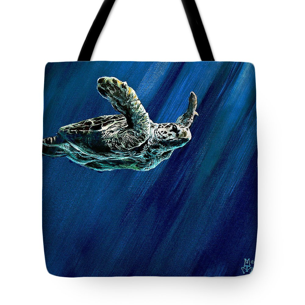 Turtle Tote Bag featuring the painting Old Man Of The Sea by Marco Antonio Aguilar