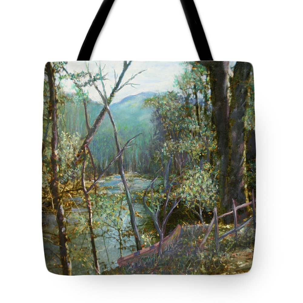 River; Trees; Landscape Tote Bag featuring the painting Old Man River by Ben Kiger