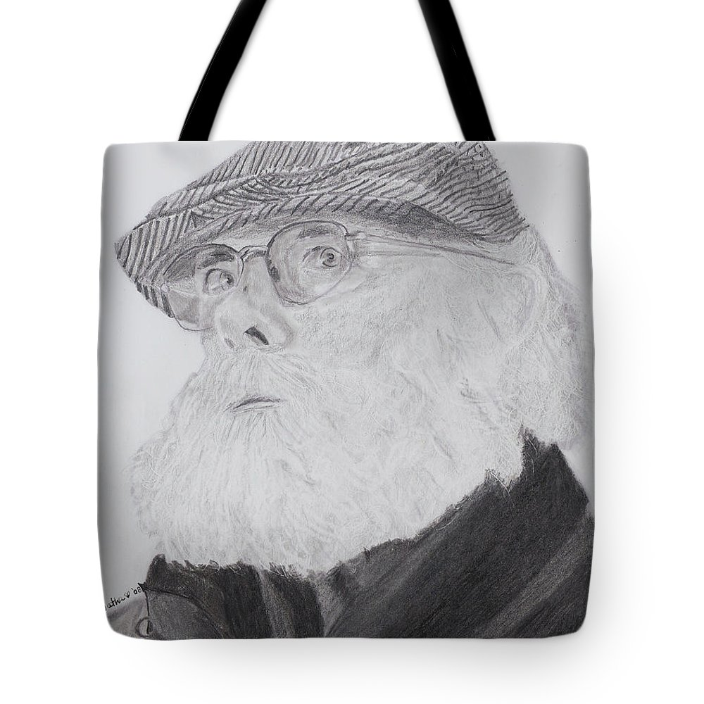 Portrait Tote Bag featuring the drawing Old Man With Beard by Quwatha Valentine