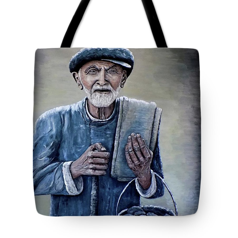 Old Man Tote Bag featuring the painting Old Man With His Stones by Judy Kirouac