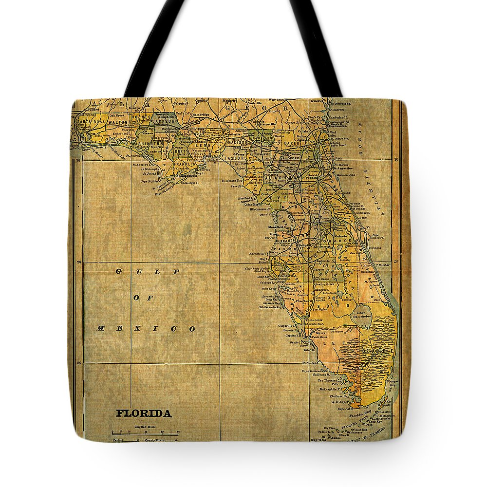 Old Tote Bag featuring the mixed media Old Map Of Florida Vintage Circa 1893 On Worn Distressed Parchment by Design Turnpike