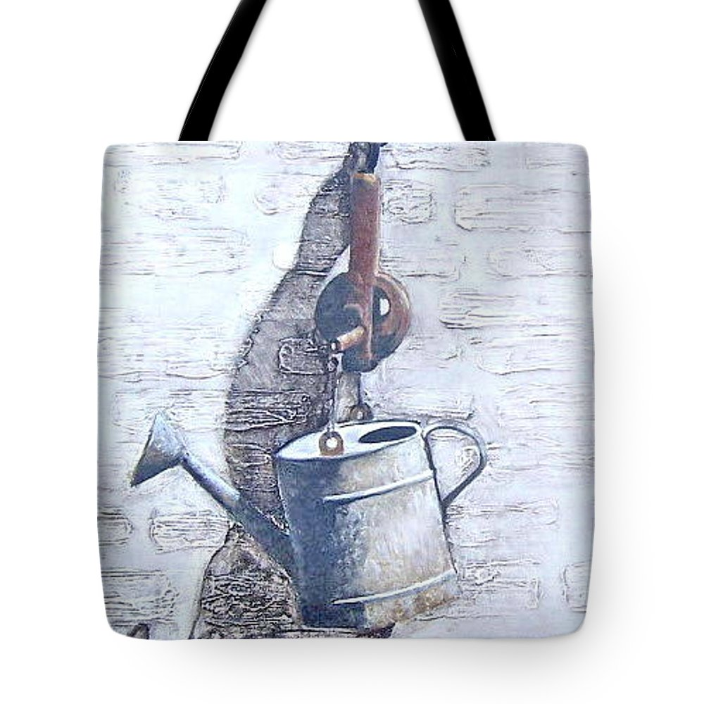 Old Metal Still Life Tote Bag featuring the painting Old Metal by Natalia Tejera