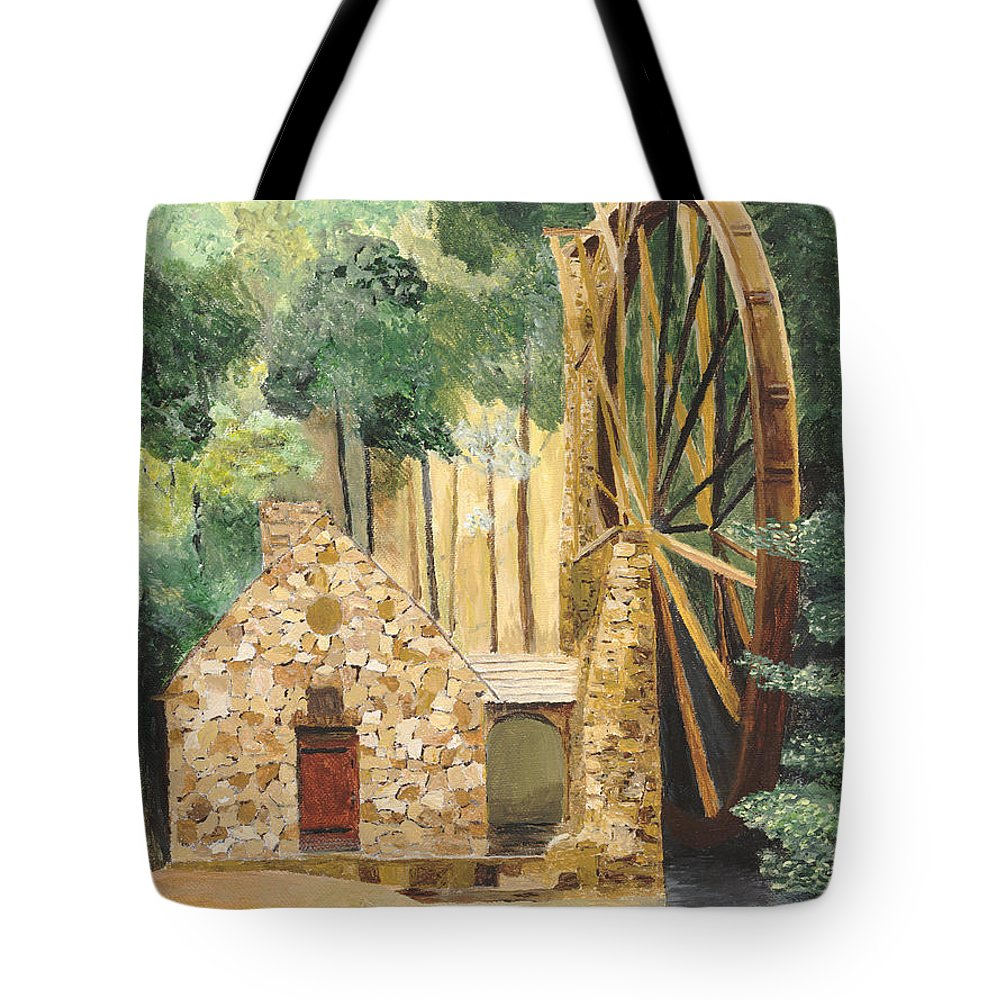 Mill Tote Bag featuring the painting Old Mill At Berry College by Rodney Campbell