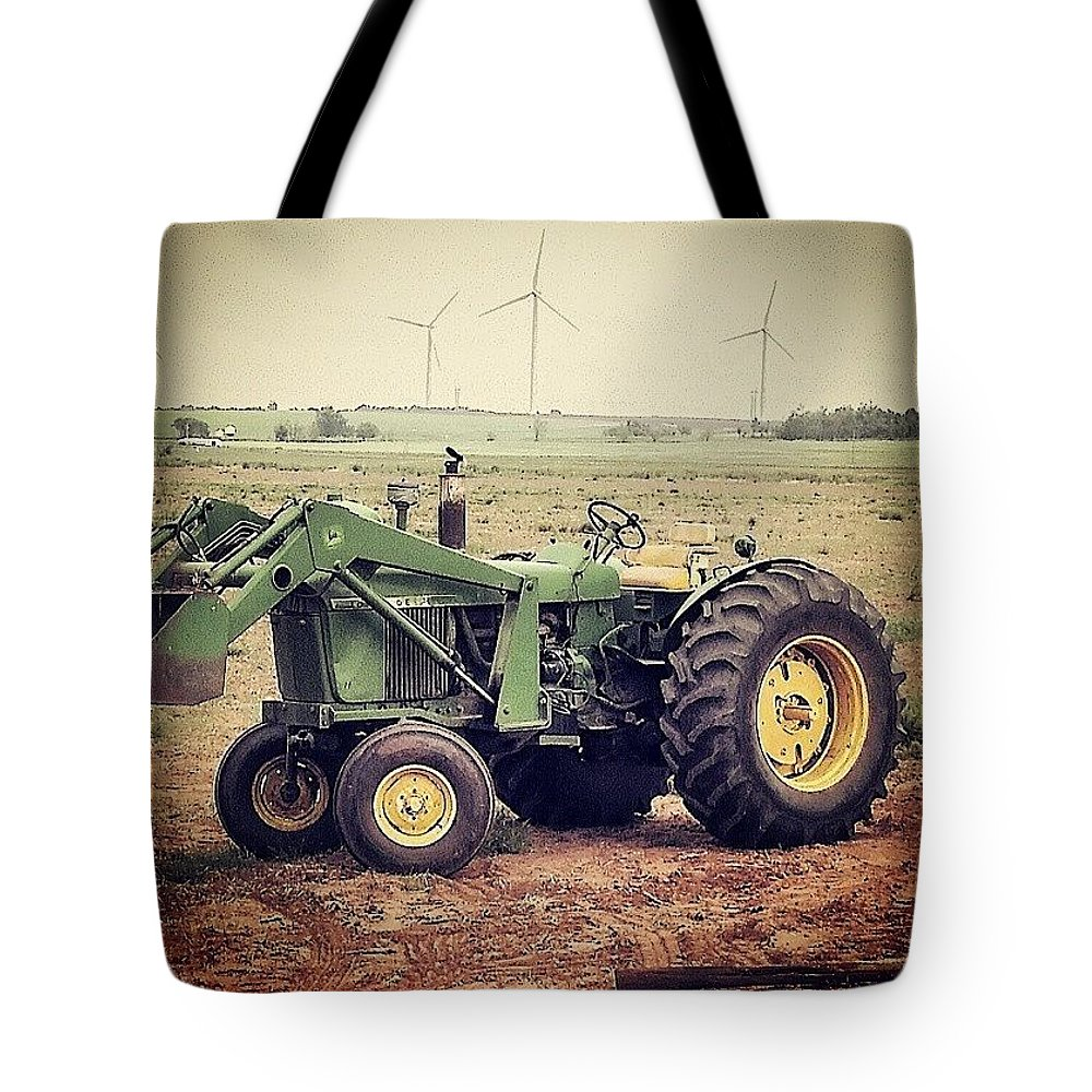 John Deere Tractor Tote Bag featuring the photograph Old Model In A Younger Generation by Cheyene Vandament
