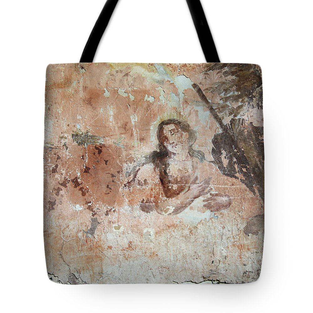 Painting Tote Bag featuring the photograph Old Mural Painting In The Ruins Of The Church by Michal Boubin