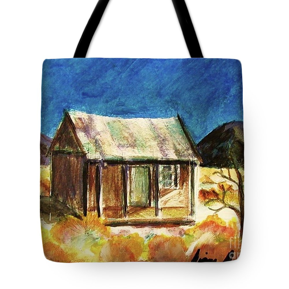 Watercolor Tote Bag featuring the painting Old New Mexico Cabin by Diana Dearen