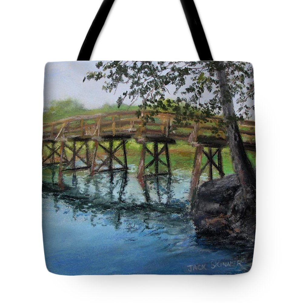 Pastel Tote Bag featuring the painting Old North Bridge In Pastel by Jack Skinner