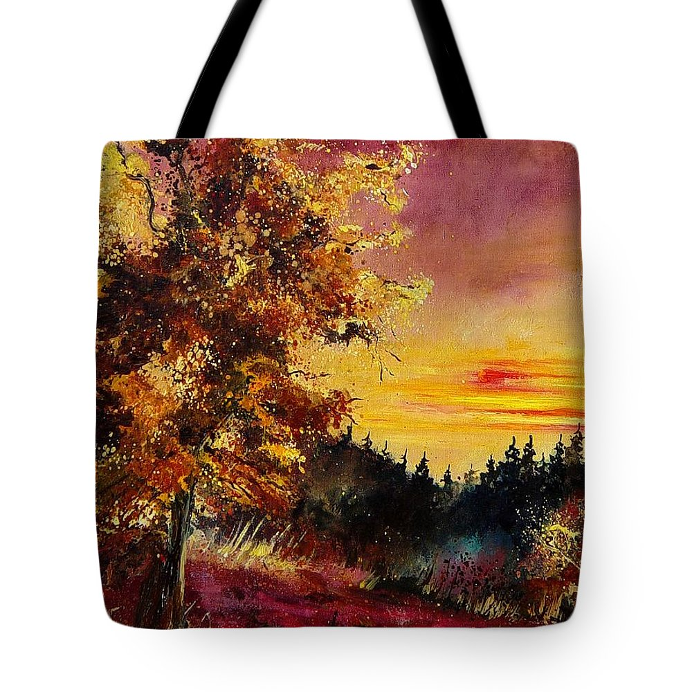 Landscape Tote Bag featuring the painting Old Oak At Sunset by Pol Ledent