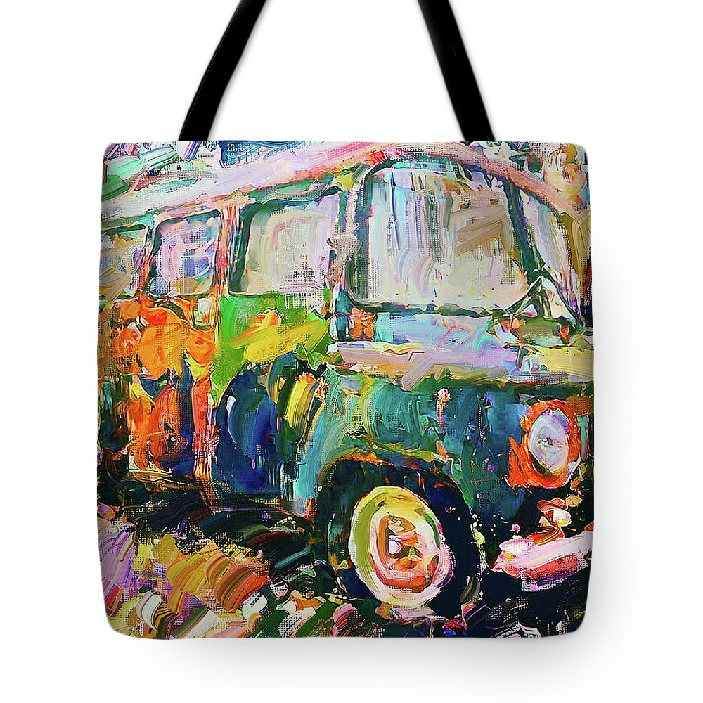 Old Tote Bag featuring the digital art Old Paint Car by Yury Malkov