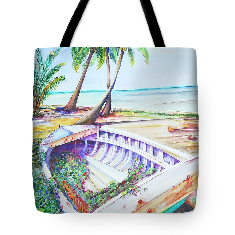 Old Dinghy Tote Bag featuring the painting Old Paint by Patricia Piffath