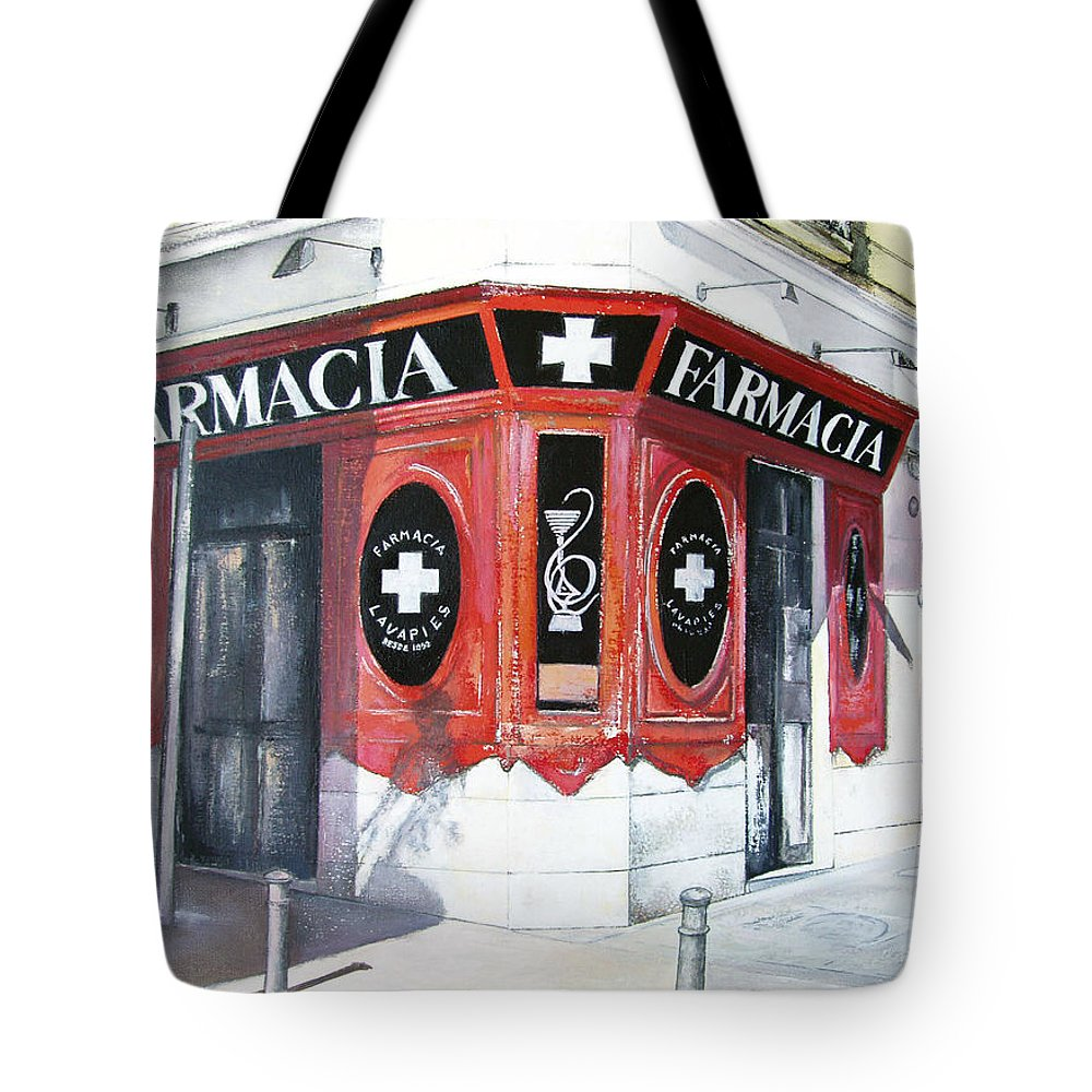 Pharmacy Tote Bag featuring the painting Old Pharmacy by Tomas Castano