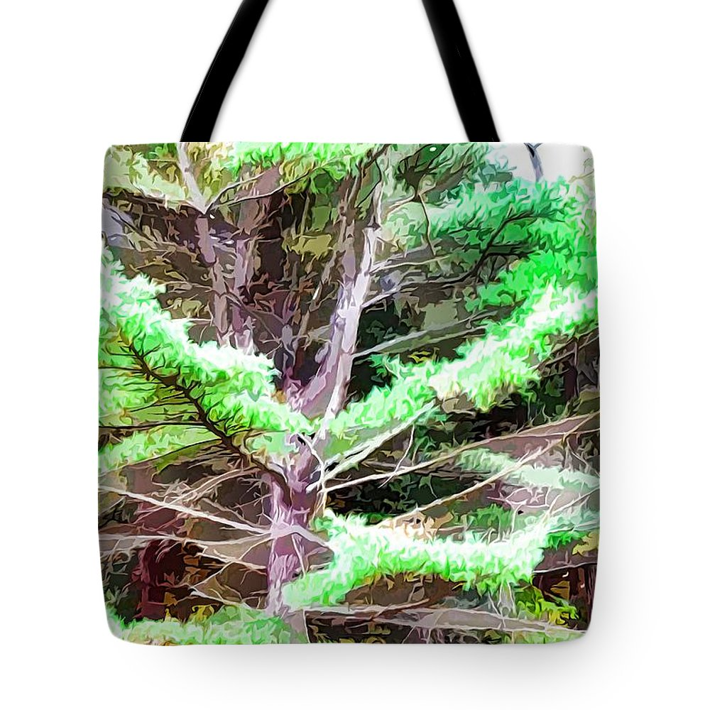 Old Pine Tree Tote Bag featuring the painting Old Pine Tree by Jeelan Clark