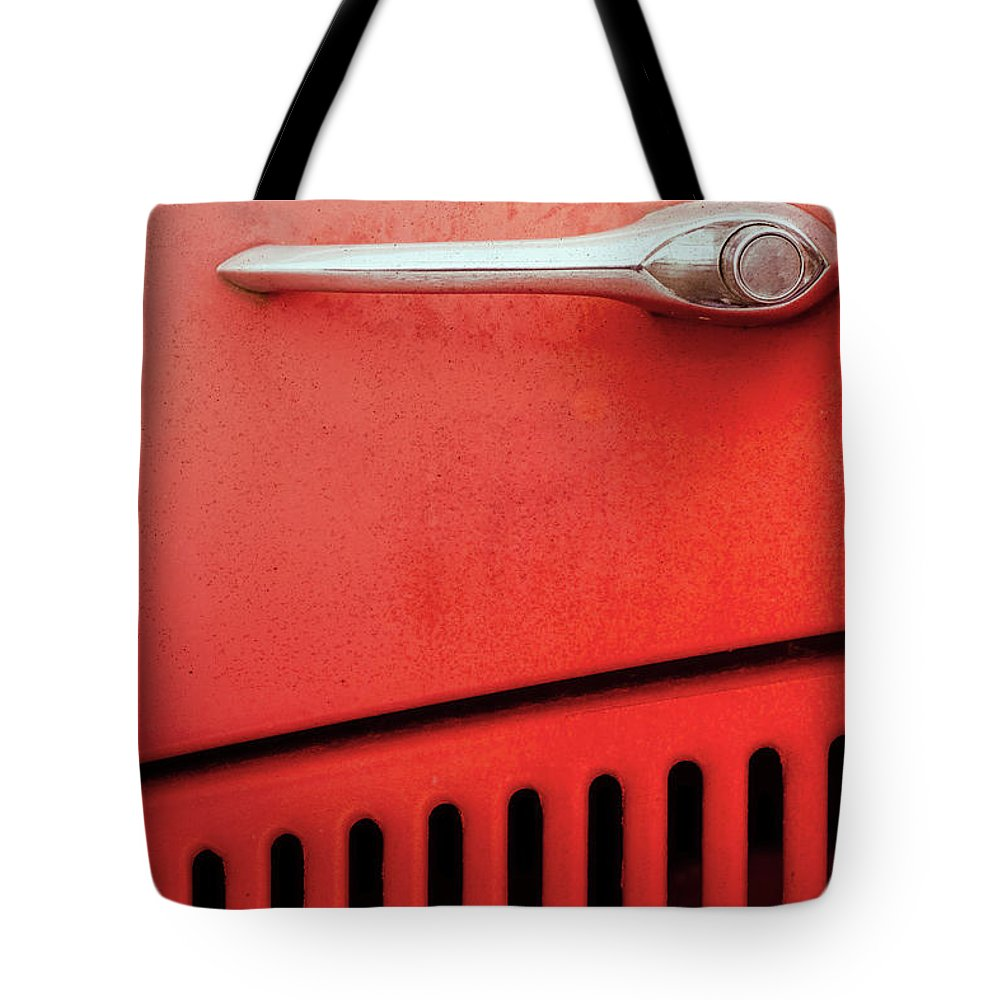 Old Tote Bag featuring the photograph Old Red Car by Benjamin Harte