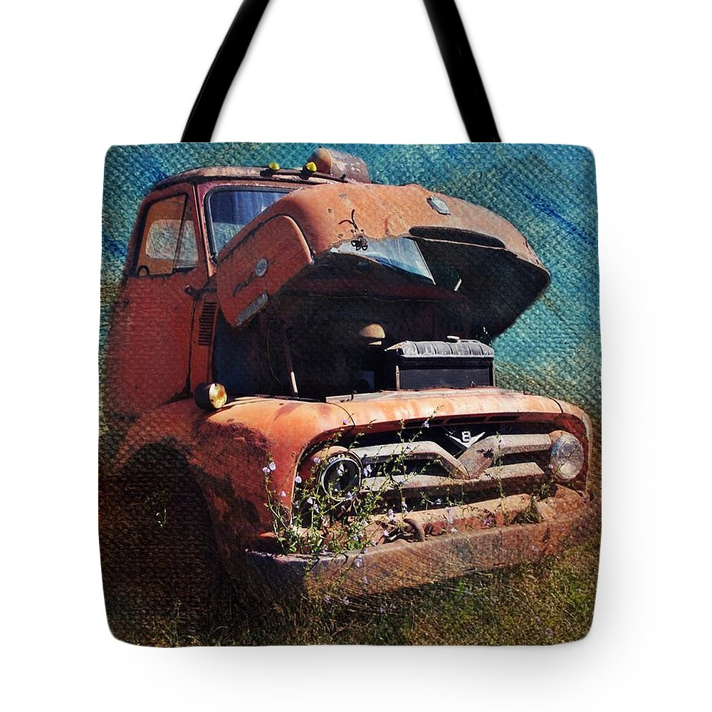 Red Truck. Old Truck Tote Bag featuring the photograph Old Red by Stephanie Calhoun