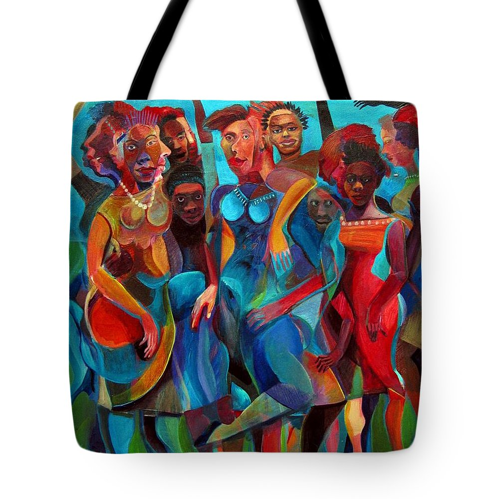 Figures Tote Bag featuring the painting Old Rhythms New Beats by Joyce Owens