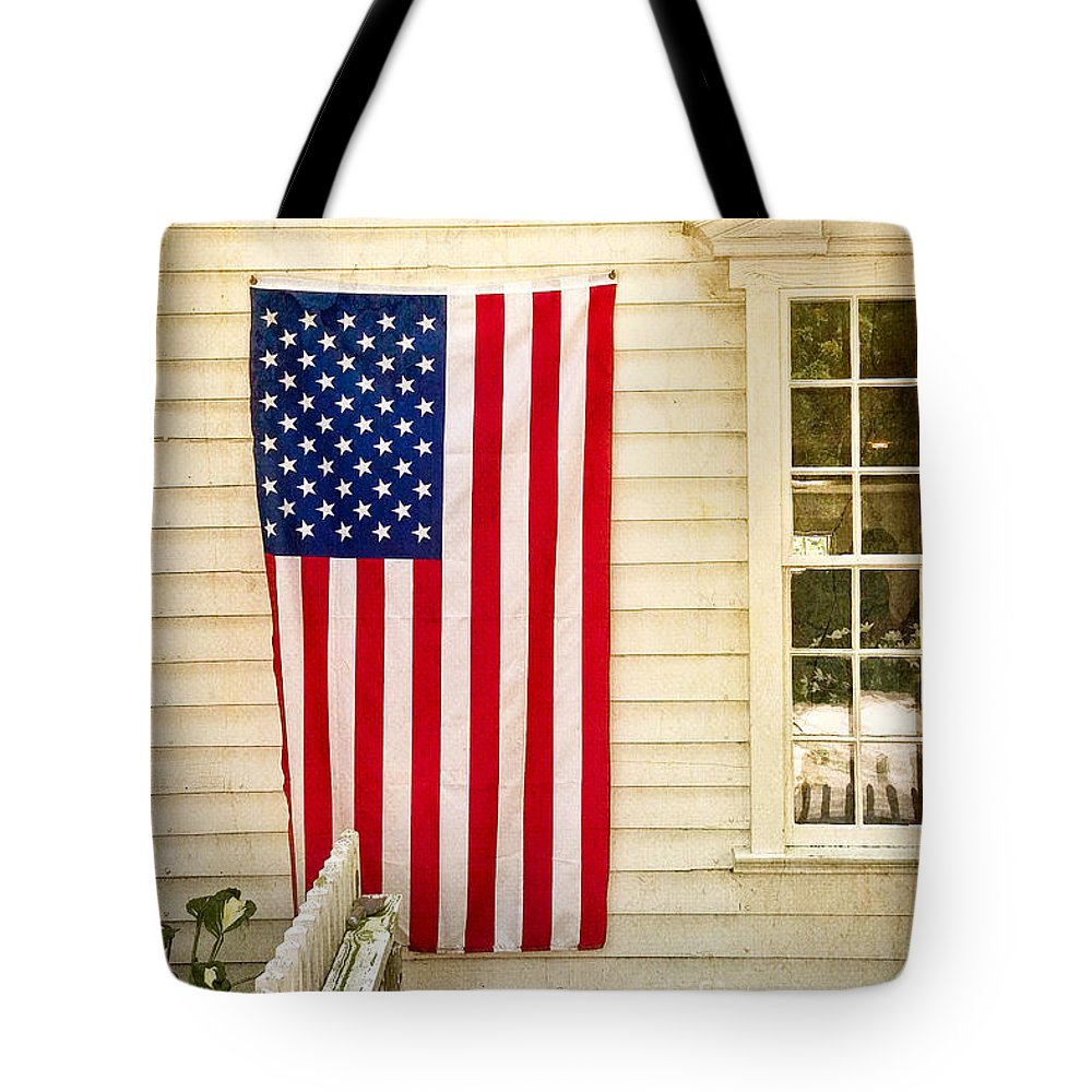 Our Town Tote Bag featuring the photograph Old Rugged Field Flag by Craig J Satterlee