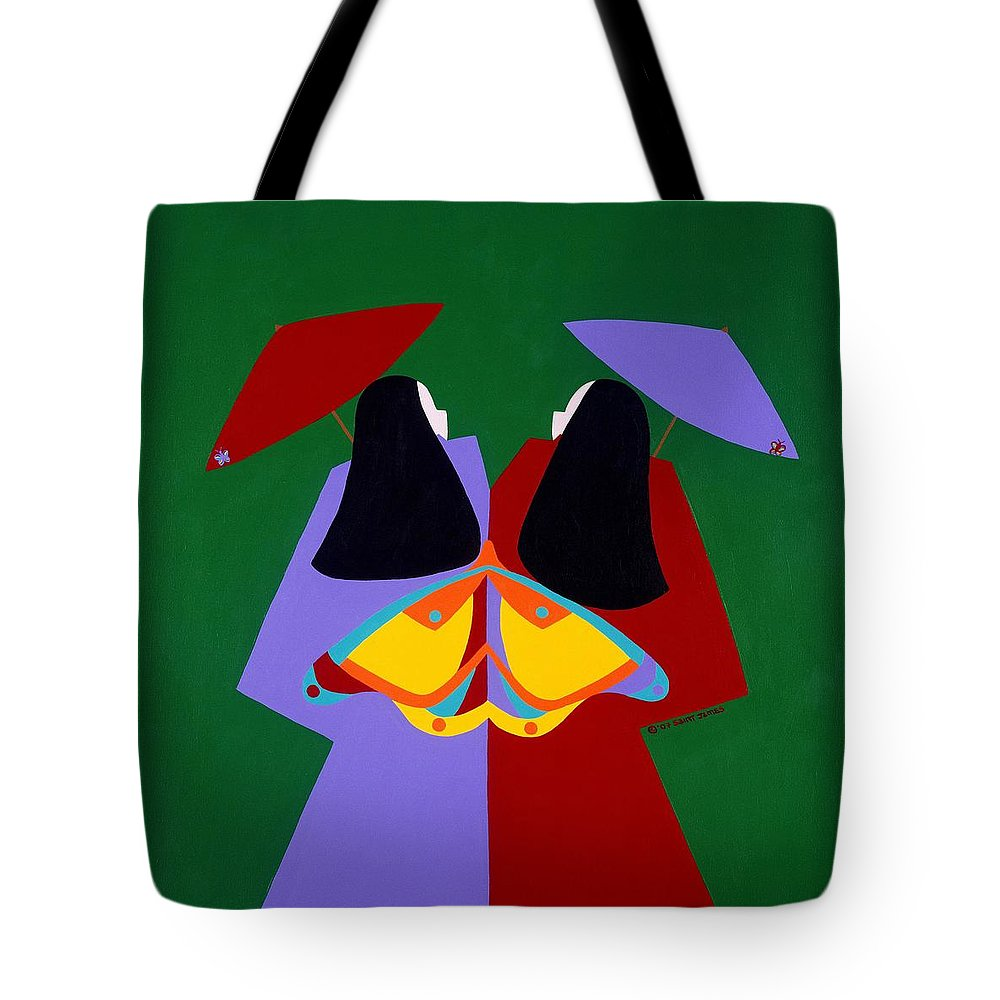 Asian Tote Bag featuring the painting Old Same by Synthia SAINT JAMES