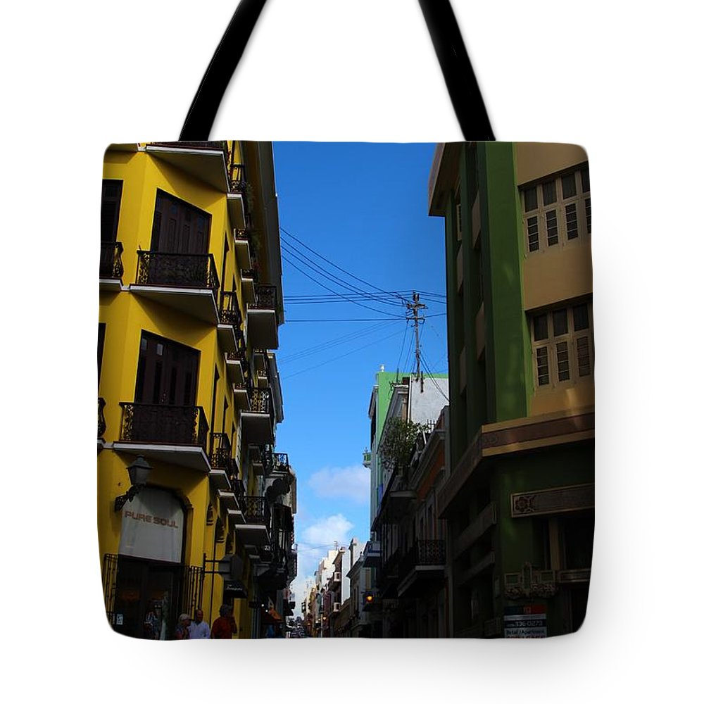 Old San Juan Puerto Rico Downtown On The Corner Tote Bag featuring the photograph Old San Juan Puerto Rico Downtown On The Corner by Robert Smith