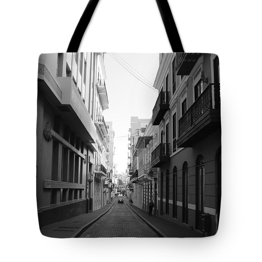 Old San Juan Puerto Rico Downtown On The Street Tote Bag featuring the photograph Old San Juan Puerto Rico Downtown On The Street by Robert Smith