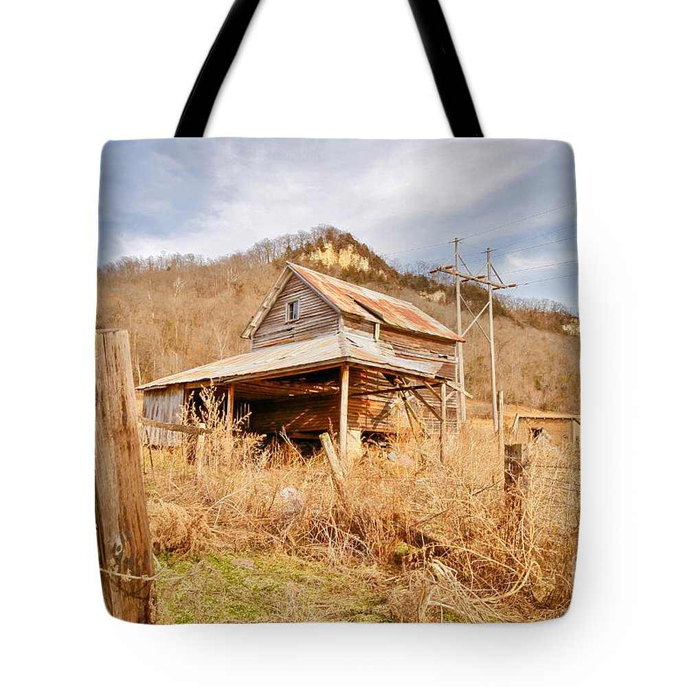 Hills Tote Bag featuring the photograph Old Shack by Lowell Stevens