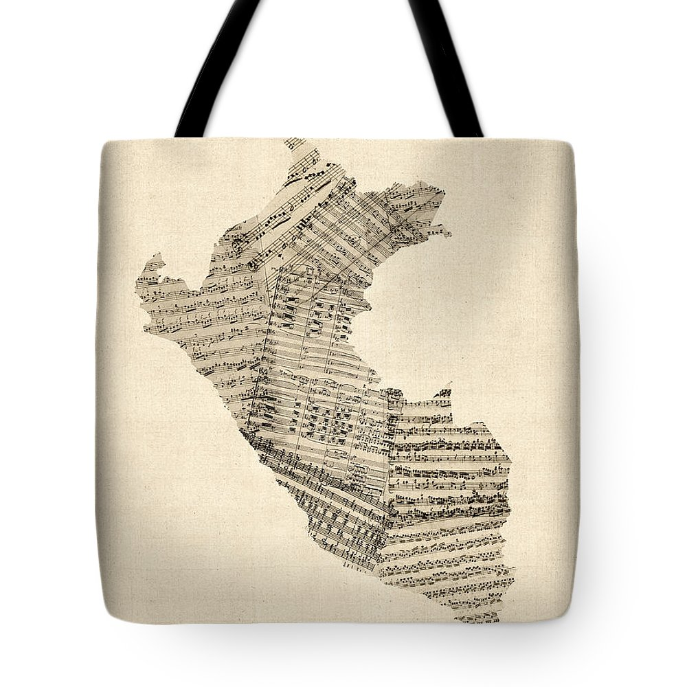 Peru Map Tote Bag featuring the digital art Old Sheet Music Map Of Peru Map by Michael Tompsett