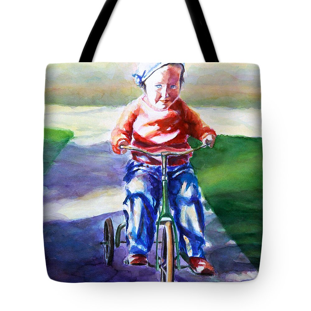 Girl Tote Bag featuring the painting Old Soul by Shannon Grissom