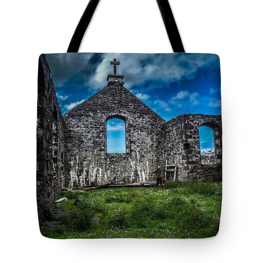 Stoer Church Tote Bag featuring the photograph Old Stoer Church by Morag Locke