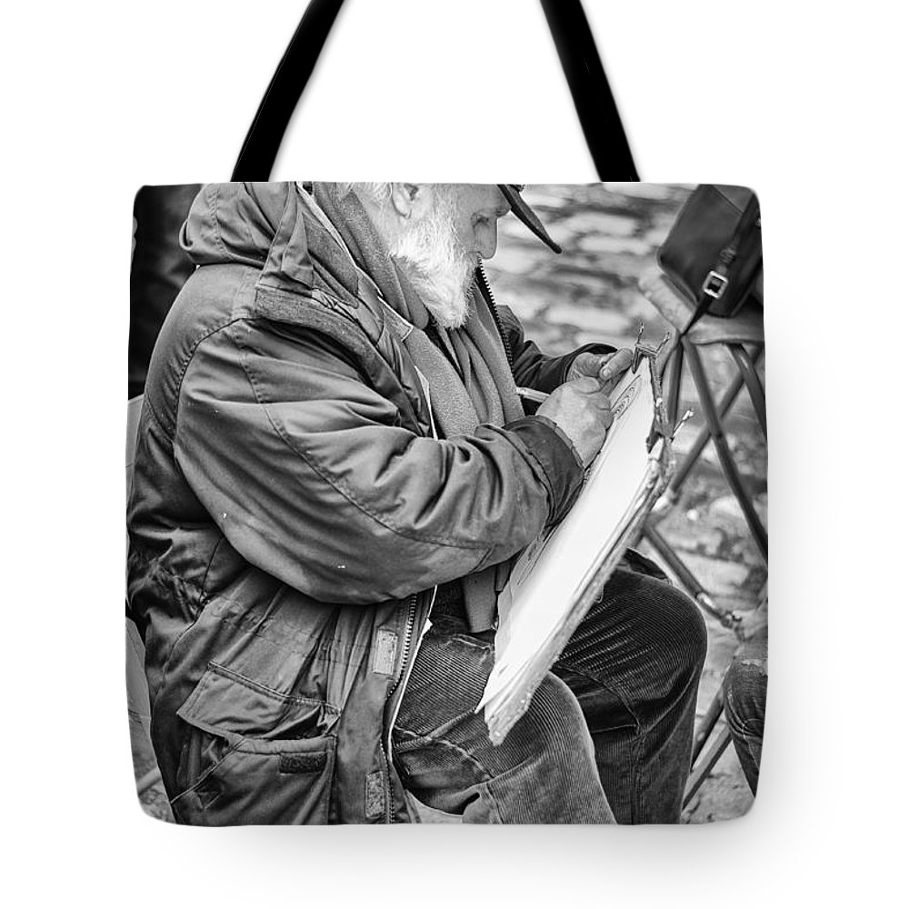 Street Tote Bag featuring the photograph Old Street Painter by Pablo Lopez