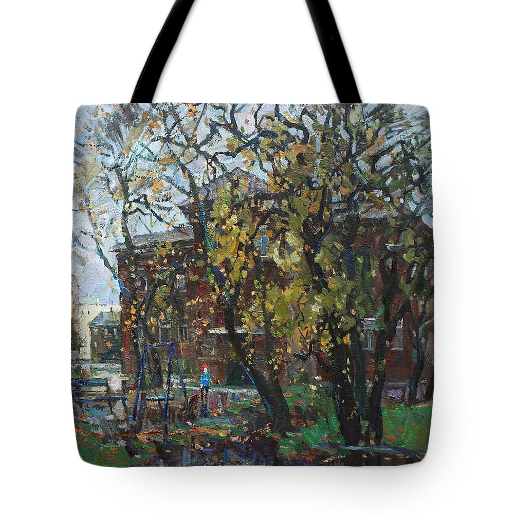 Cityscape Tote Bag featuring the painting Old Swings by Juliya Zhukova