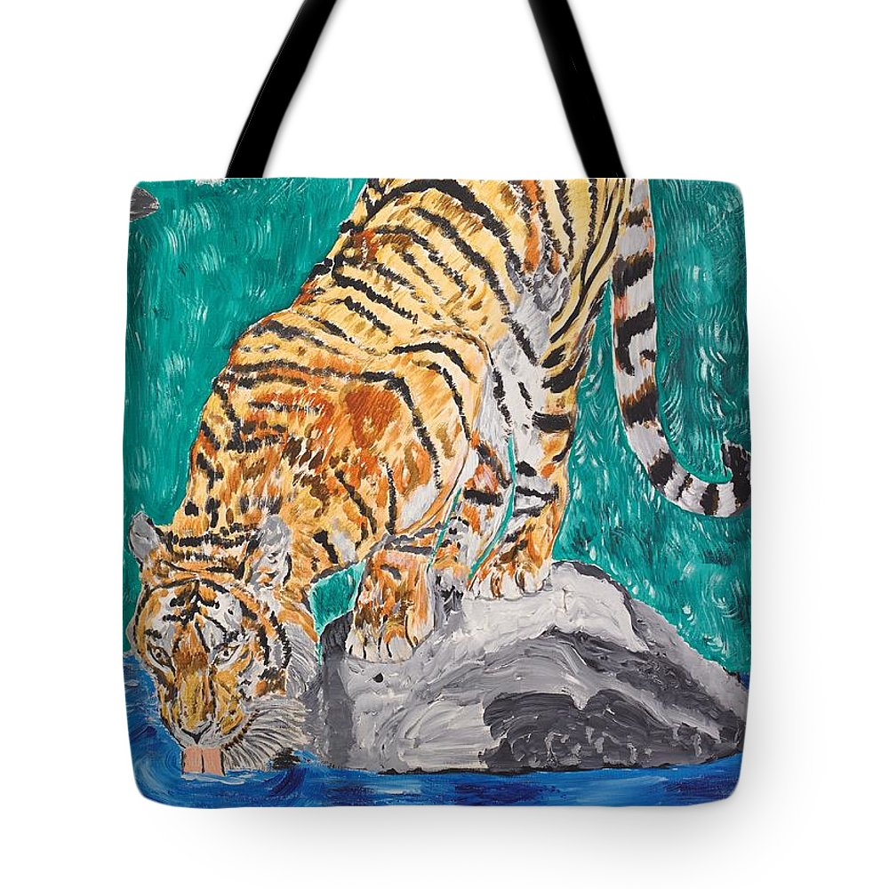 Cat Tote Bag featuring the painting Old Tiger Drinking by Valerie Ornstein