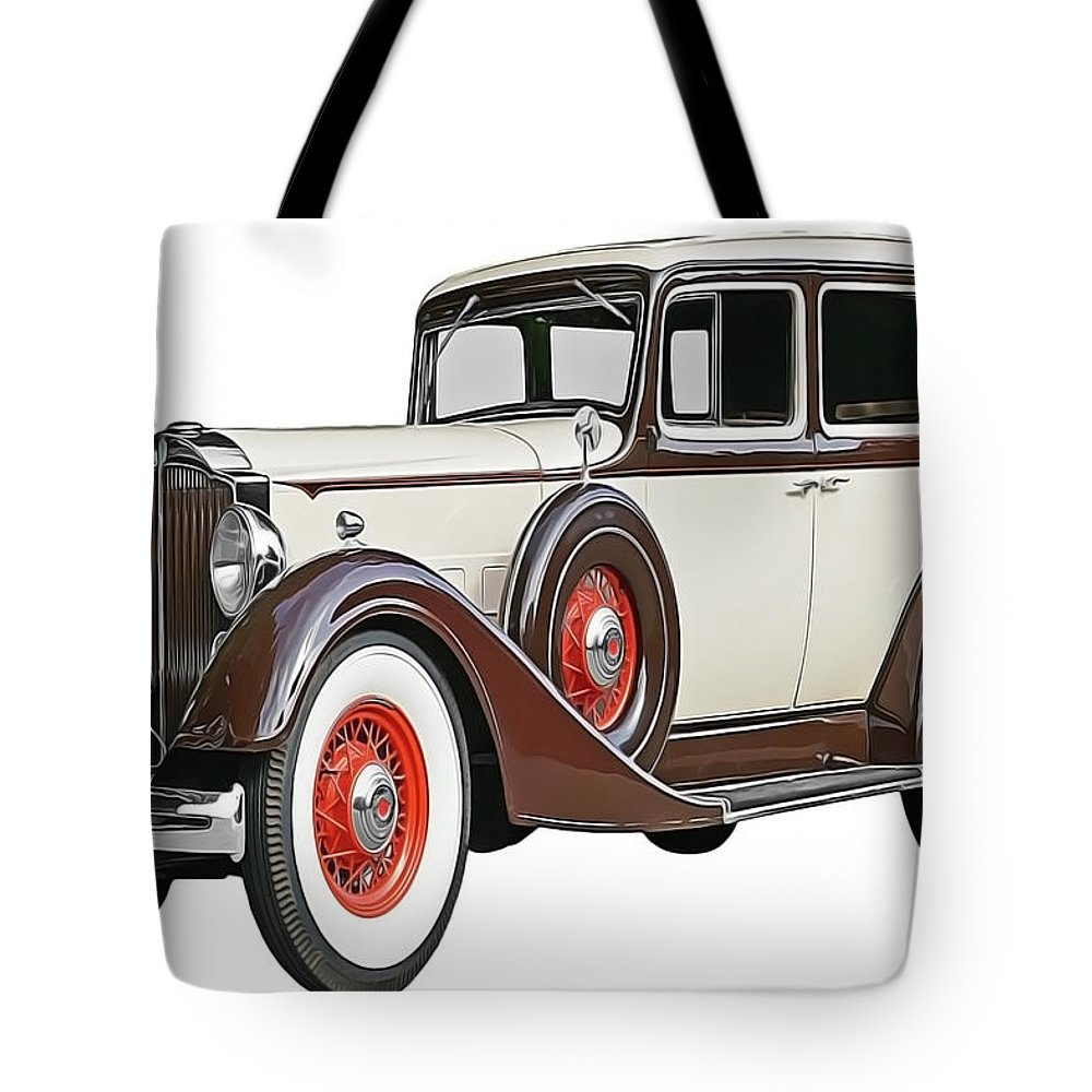 Old Time Auto Tote Bag featuring the painting Old Time Auto by Harry Warrick