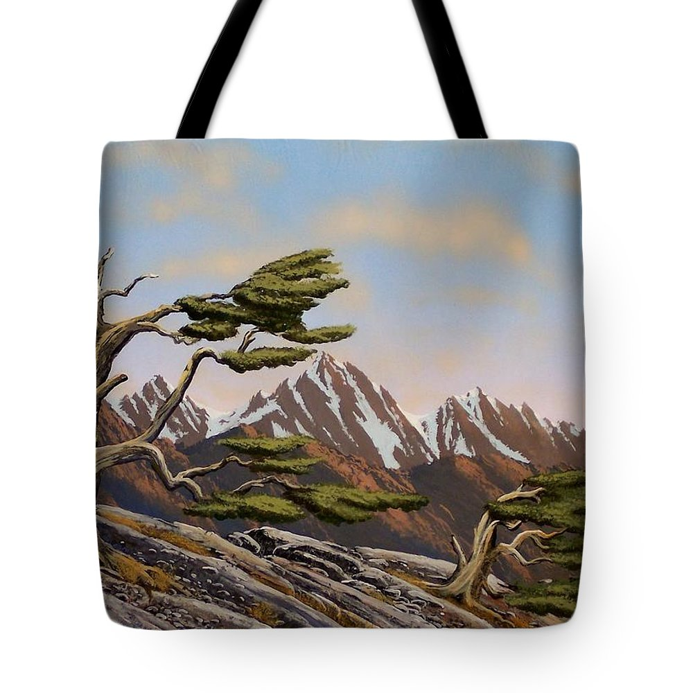 Mountains Tote Bag featuring the painting Old Timers by Frank Wilson