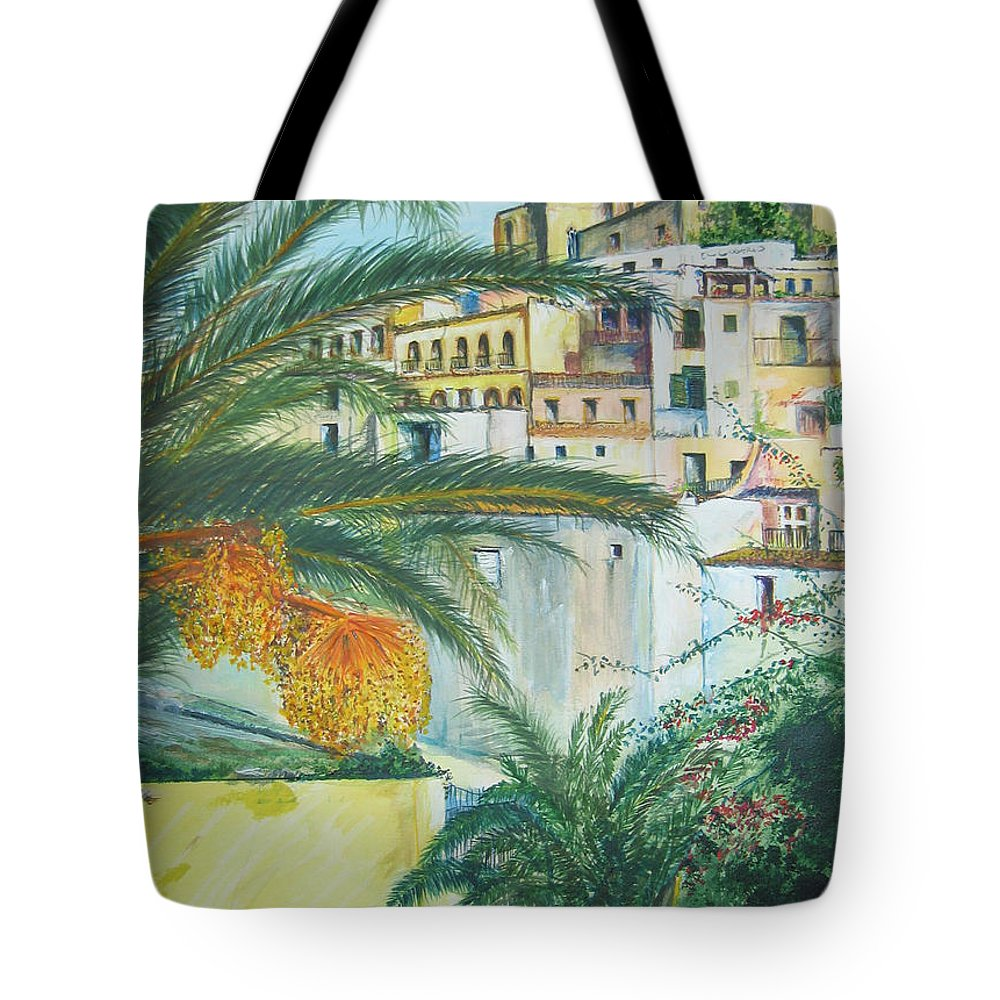 Ibiza Old Town Tote Bag featuring the painting Old Town Ibiza by Lizzy Forrester