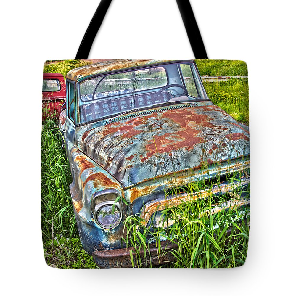 Transportation Tote Bag featuring the photograph 001 - Old Trucks by David Ralph Johnson