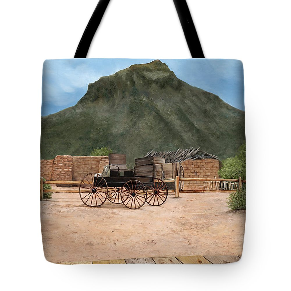Art Tote Bag featuring the painting Old Tucson by Mary Rogers