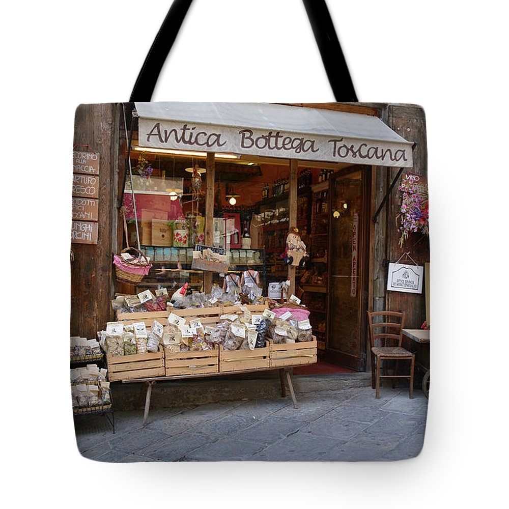 Tuscany Tote Bag featuring the photograph Old Tuscan Deli by Frank Stallone