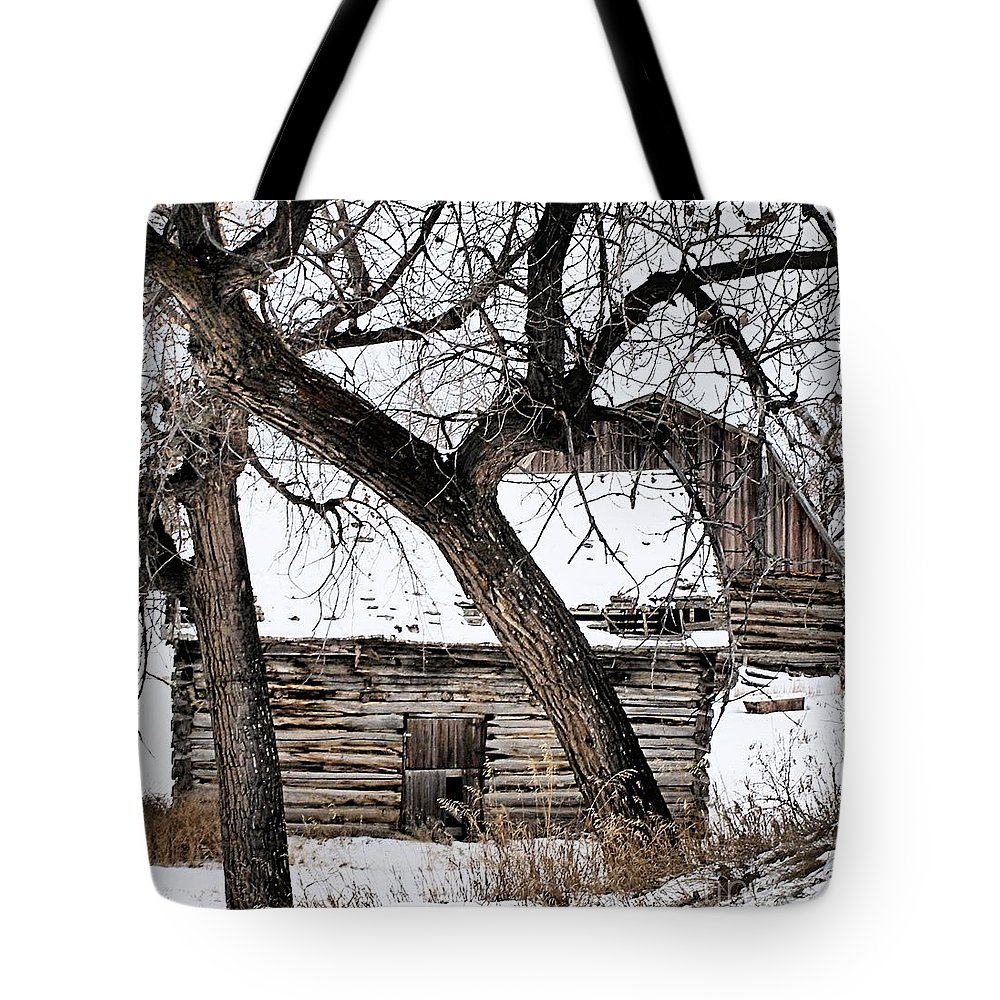 Old Barn Tote Bag featuring the photograph Old Ulm Barn by Susan Kinney