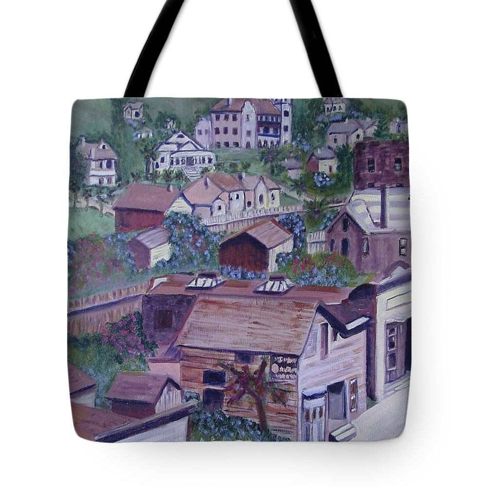 Ventura Tote Bag featuring the painting Old Ventura by Laurie Morgan