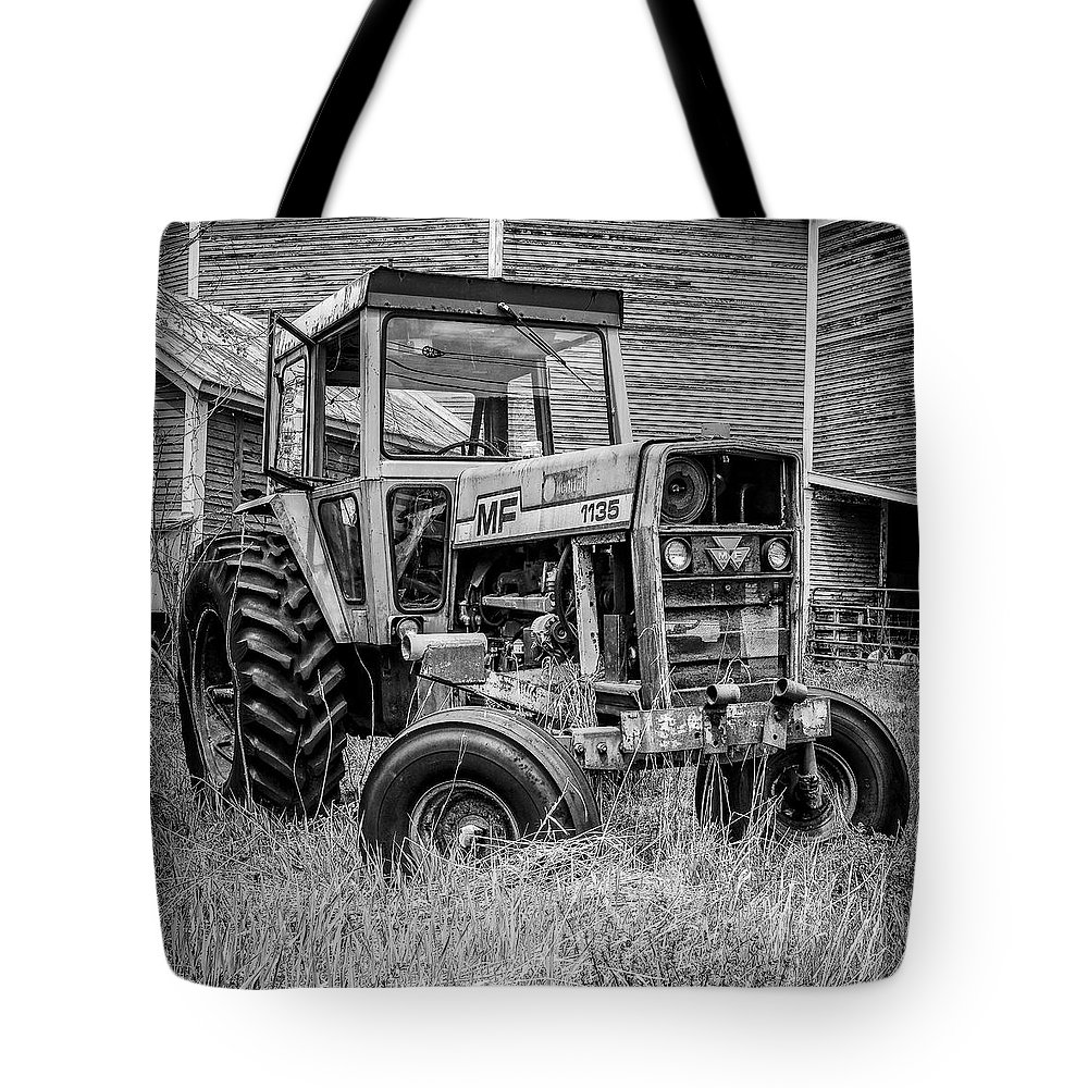 Barn Tote Bag featuring the photograph Old Vintage Tractor On A Farm In New Hampshire Square by Edward Fielding