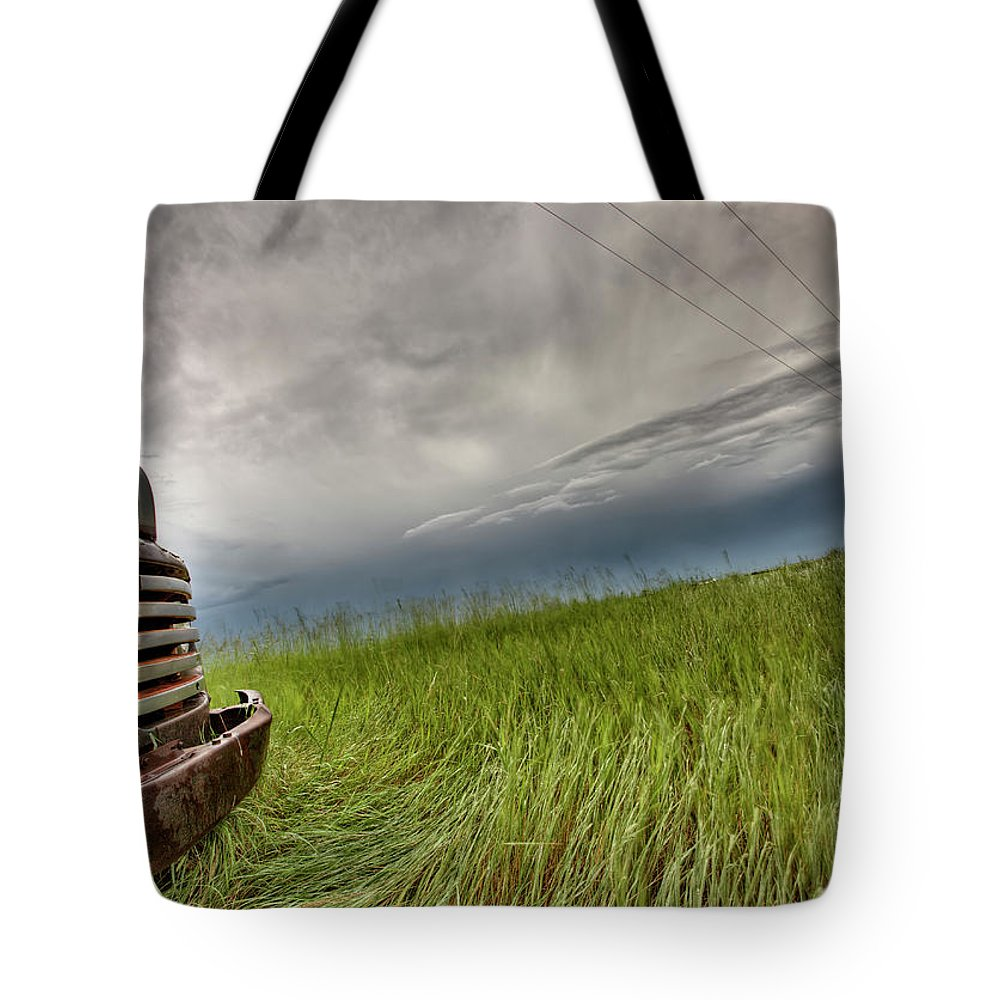 Transportation Tote Bag featuring the photograph Old Vintage Truck On The Prairie by Mark Duffy
