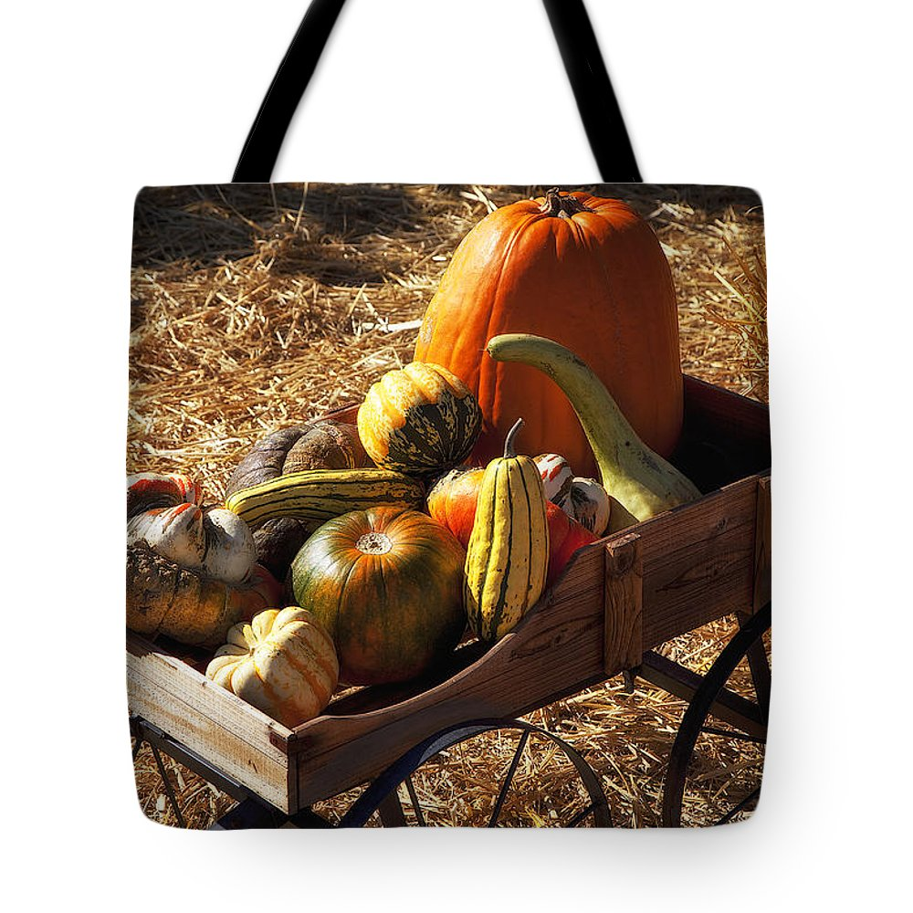 Gourd Tote Bag featuring the photograph Old Wagon Full Of Autumn Fruit by Garry Gay